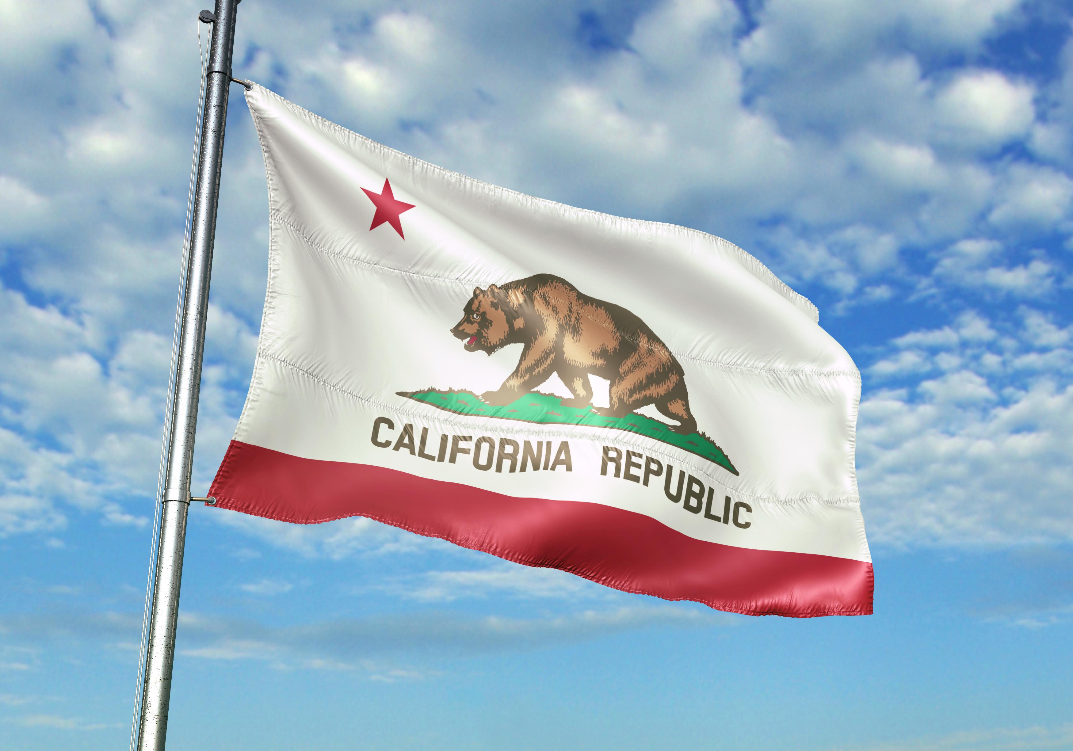 California state of United States flag on flagpole